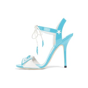 Women's Light Blue Chic Star Strappy Stiletto Heel Ankle Strap Sandals