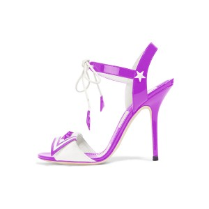 Women's Purple Star Strappy Open Toe Stiletto Heels Sandals