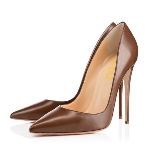 Brown Office Heels Pointy Toe Patent Leather High Heels Shoes