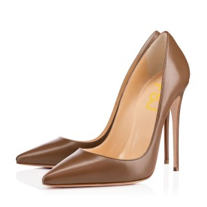 FSJ Brown Vegan Office Heels Pointy Toe Stiletto Heel Dressy Pumps