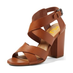 Women's Brown Strappy Open Toe Buckle Chunky Heel Sandals