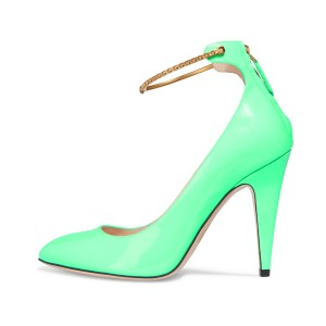Green Ankle Strap Heels Pointy Toe Patent Leather Cone Heel Pumps