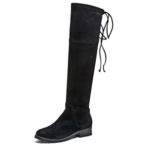 Black Round Toe Flats Long Boots Suede Knee-high Boots