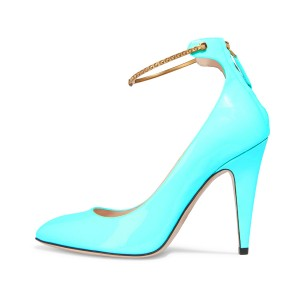 Women's Turquoise Heels Patent Leather Ankle Strap Cone Heel Pumps