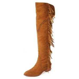 Tan Fringe Boots Fashion Suede Over-the-Knee Boots