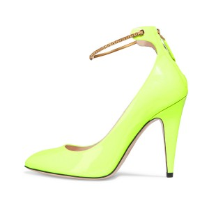 Women's Neon Yellow Patent Leather Ankle Strap Heels Pumps Shoes