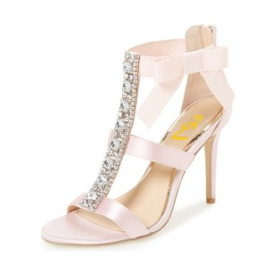 Pink Bridal Sandals Satin T-strap Rhinestone Stiletto Heels