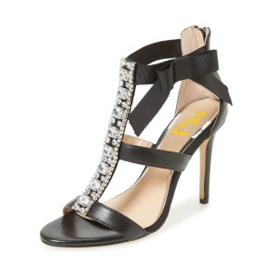 Black Evening Shoes T-strap Rhinestone Stiletto Heels Sandals