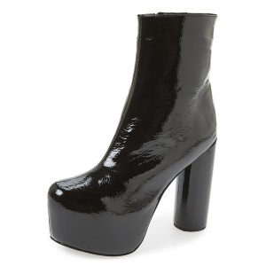 Black Chunky Heel Boots Glossy Platform Boots Ankle Booties for Women