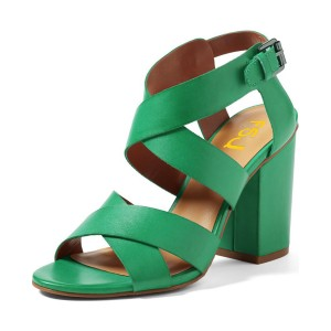 Women's Green Open Toe Buckle Strappy Chunky Heel Sandals