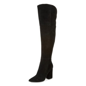 Black Long Boots Chunky Heel Pointy Toe Over-the-knee Boots