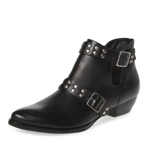 Black Chunky Heel Boots Studded Pointy Toe Motorcycle Boots