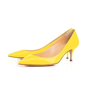 Women's Yellow Leather Kitten Heels Low-cut Upper Pumps