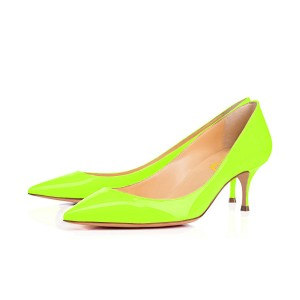 Neon Kitten Heels Patent Leather Pointy Toe Pumps