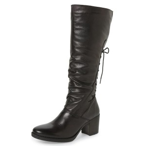 Black Vintage Boots Chunky Heel Knee-high Jockey Boots