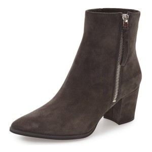 Dark Brown Suede Pointed Toe Ankle Boots