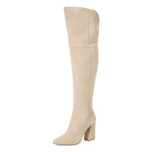 Beige Chunky Heel Boots Suede Pointy Toe Over-the-Knee Boots
