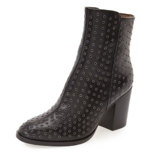 Leila Black Mesh Leather Ankle Boots