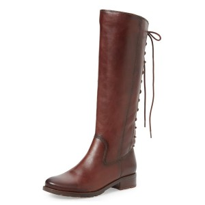 Maroon Back Lace-up Flat Boots