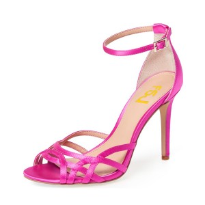 Women's Elegant  Deep Pink Ankle Strap Hollow Out Stiletto Heel Sandals