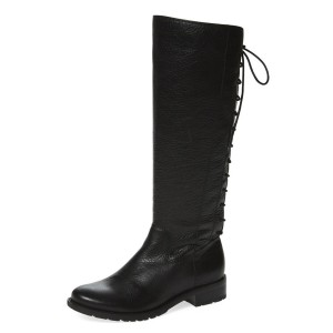 Black Riding Boots Vegan Leather Round Toe Back Lace up Knee Boots
