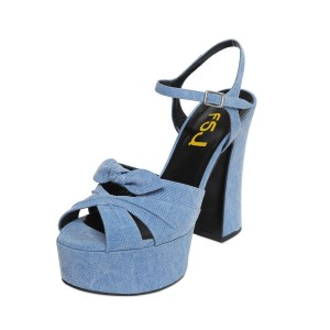 Women's Blue Bow Ankle Strap Platform Chunky Heels Canvas Sandals