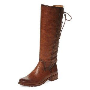 Tan Riding Boots Round Toe Back Lace up Vintage Knee Boots