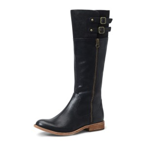 Black Riding Boots Round Toe Flat Textured Vegan Leather Knee Boots