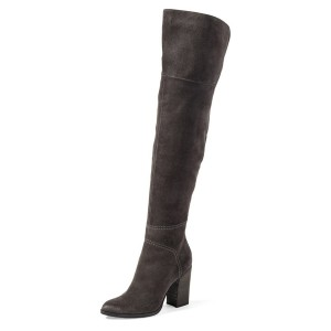 Women's Black Pointed Toe Over-The-Knee Chunky Heel  Boots