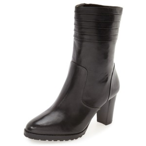 Black Women's Dress Boots Chunky Heel Mid Calf Boots