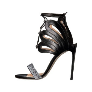 Women's Black Strappy Elegant Stiletto Heel Ankle Strap Sandals