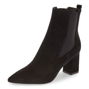 Black Slip on Boots Pointy Toe Suede Block Heel Chelsea Boots