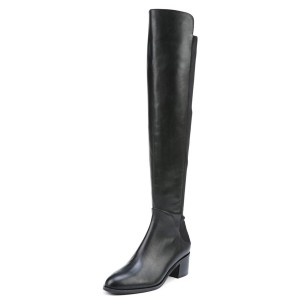 Black Long Boots Chunky Heel Fashion Over-the-Knee Boots