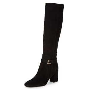 Black Buckle Chunky Heel Boots Suede Knee-high Boots for Work