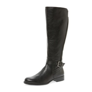 Black Round Toe Low Heel Textured Vegan Leather Riding Boots
