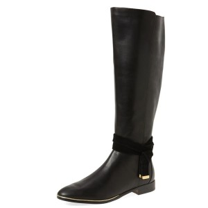 Black Fashion Boots Flat Knee-high Boots for Work