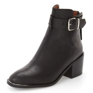 Leila Black Leather Short Boots