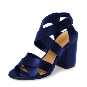Navy Block Heel Sandals Open Toe Cross-over Strap Sandals for Women