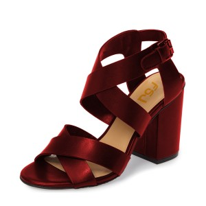 Burgundy Heels Open Toe Block Heel Sandals Office Shoes by FSJ