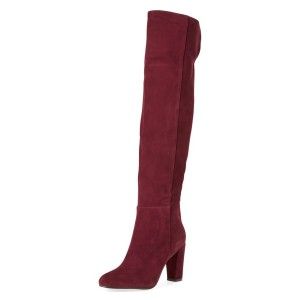 Burgundy Chunky Heel Boots Suede Vintage Heels Over-the-knee Boots