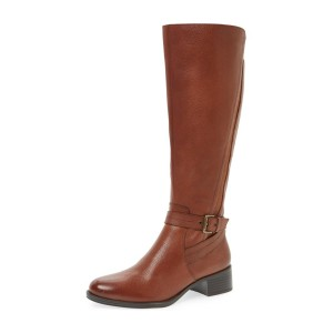 Tan Vintage Boots Round Toe Knee-high Boots Block Heels Long Boots