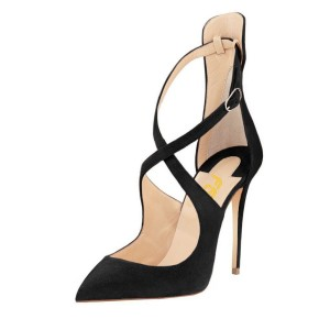 Leila Black Crossed-Over Strap Stiletto Heel Pumps