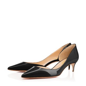 Black Kitten Heels Pointy Toe Patent Leather D'orsay Pumps for Women