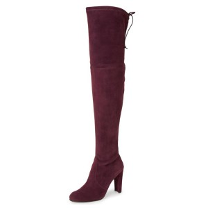 Women's Burgundy Boots-Knee-Over Suede Blush Heels Boots