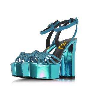 Blue Prom Shoes Chunky Heel Ankle Strap Platform Sandals Evening Shoes
