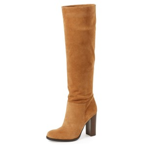 Khaki Suede Knee High Vintage Shoes Suede Boots