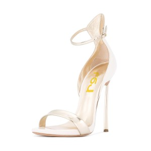 Champagne Evening Shoes Stiletto Heels Ankle Strap Sandals