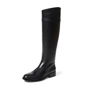 Black Fashion Boots Round Toe Flat Knee-high Work Boots