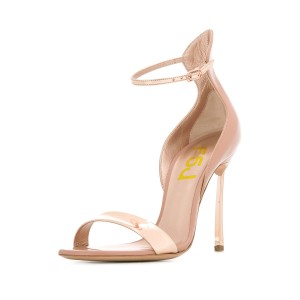 Women's Nude Patent Leather Stiletto Heel Ankle Strap Sandals
