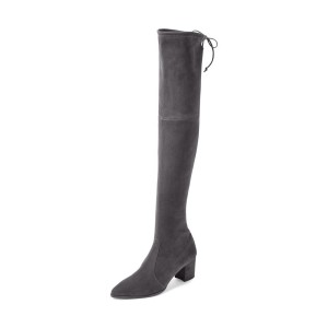 Dark Grey Chunky Heel Boots Suede Over-the-knee Boots for Women